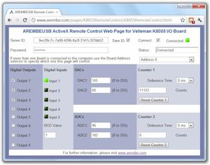 AREMBEUSB Remote Control Web Page